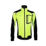emansmoer Herren Wasserdicht Atmungsaktiv Outdoor Sport Fahrrad Radsport Jacke Jersey Winddicht Fleecefutter Mantel (Medium, Gelb) -